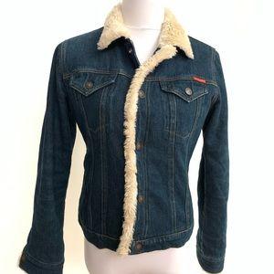 Fur lined ROXY denim jean jacket